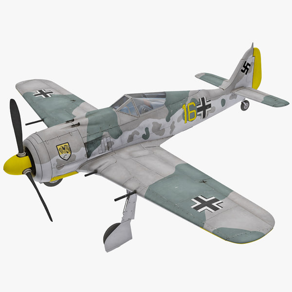 Focke Wulf Fw 190 German WWII Fighter Aircraft 2 3D Models