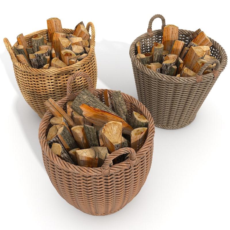 Wicker Firewood Basket Set