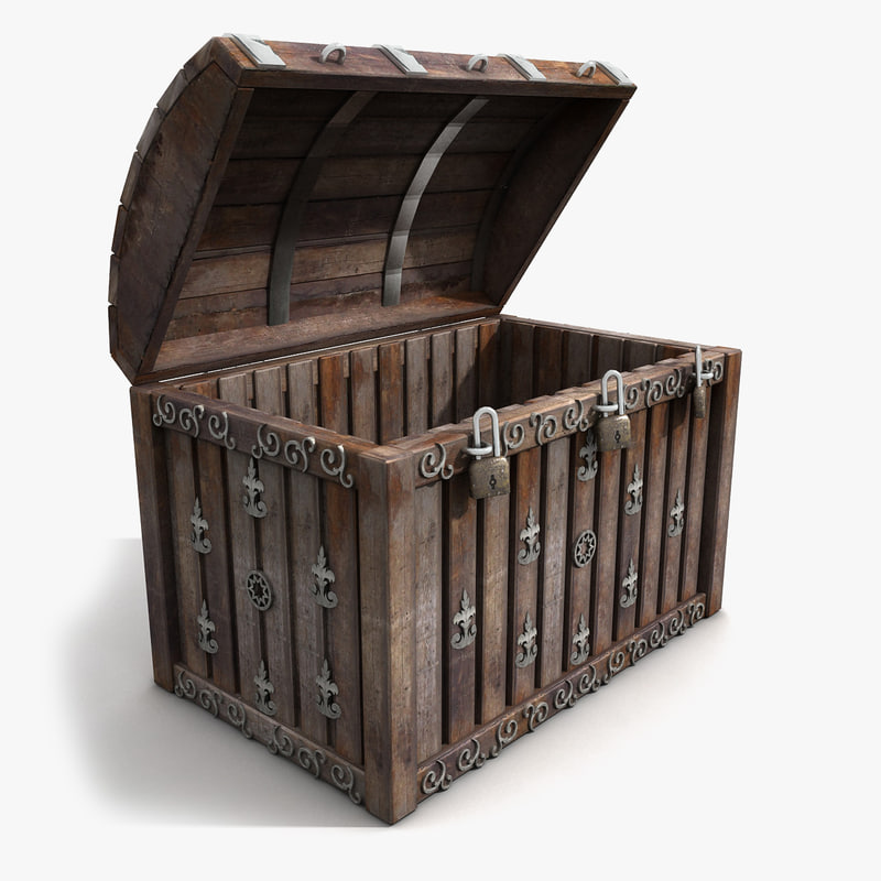 Wood Chest Trunk Silver Metal