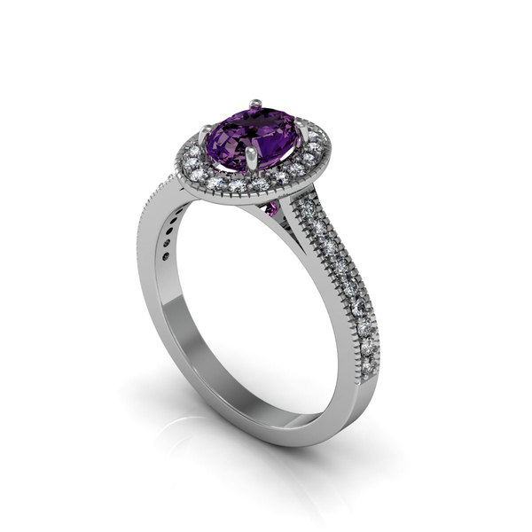 Precious Halo Diamond Ring 3D Models