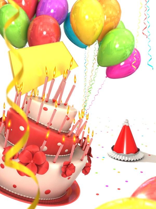 birthday cake balloons obj
