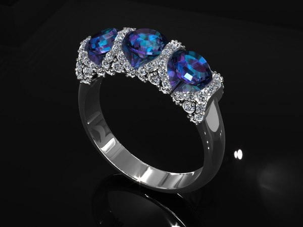Precious Blue Sapphire Diamond Ring 3D Models