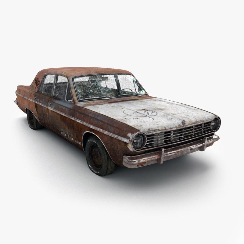 3d model old rusty dodge dart