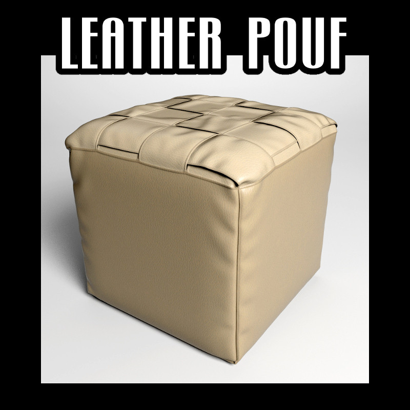 Leather pouf 03