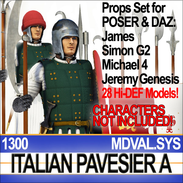 Props Set Poser Daz for Italian Pavesier Soldier 1300