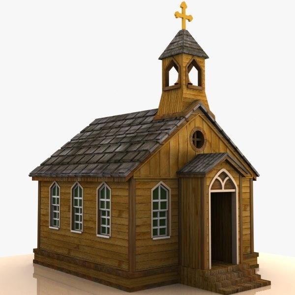 Cartoon Western Church 3d 3ds