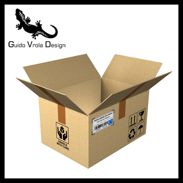 open cardboard box 3d obj