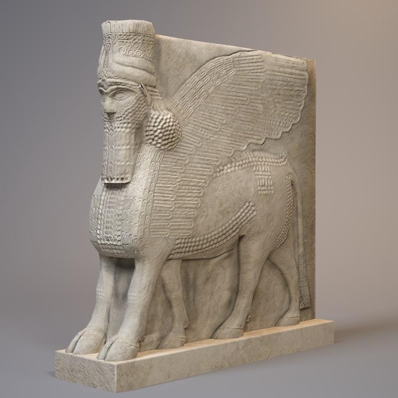 statue lamassu bull