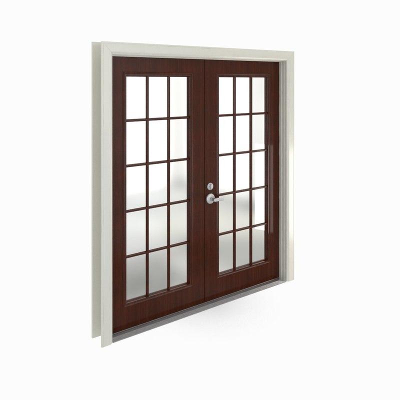 French doors 3d model for Door 3d model