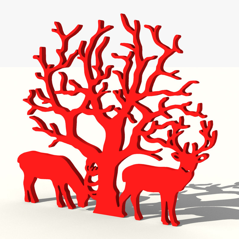 Tree with reindeers decoration