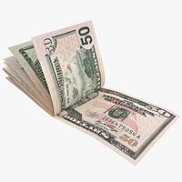 fifty dollar bill 3D models
