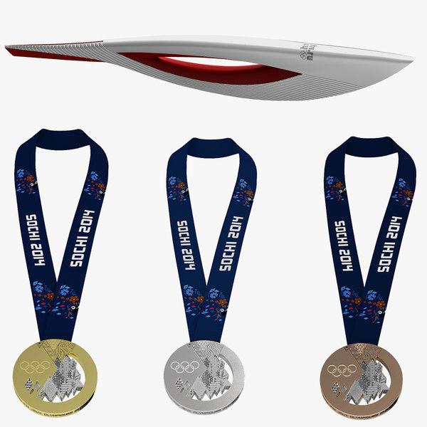 Torch and Medals Sochi 2014 3D Models