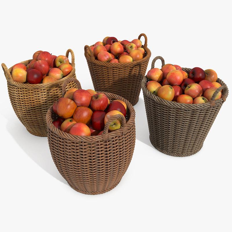 Wicker Apple Fruit Wood Basket (2)