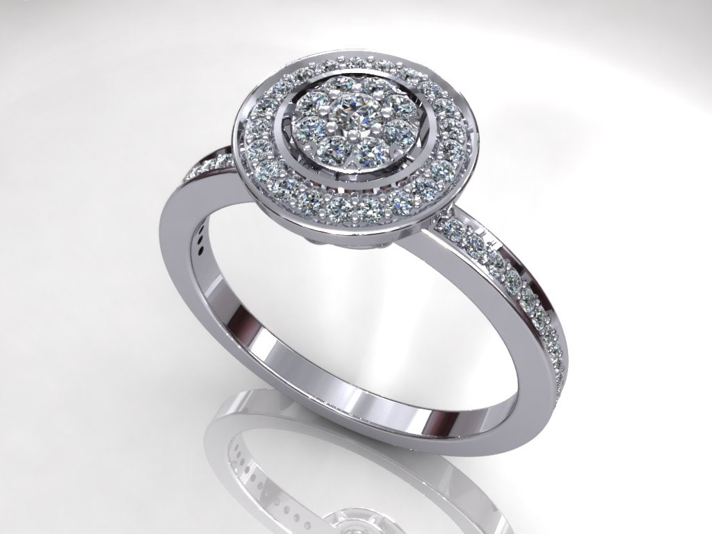Sunflower Halo Diamond Ring