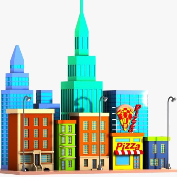 3ds cartoon city street