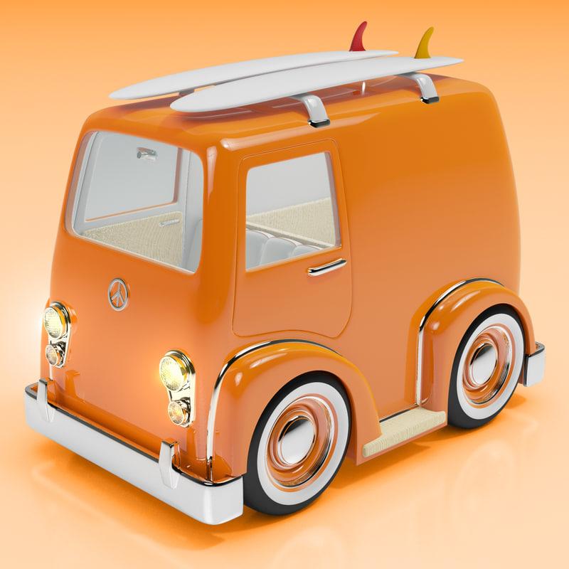 Cartoon Combi Surf Van