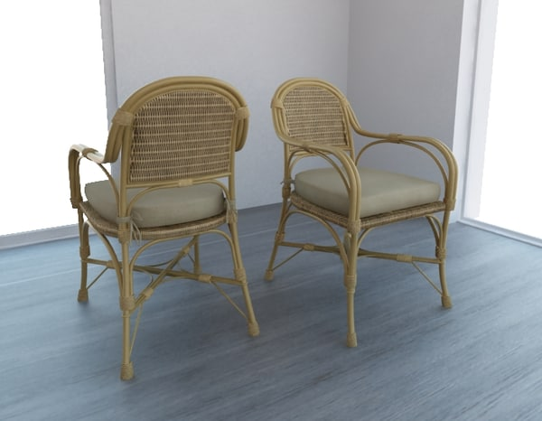 Straw chair with pillow 3D Models