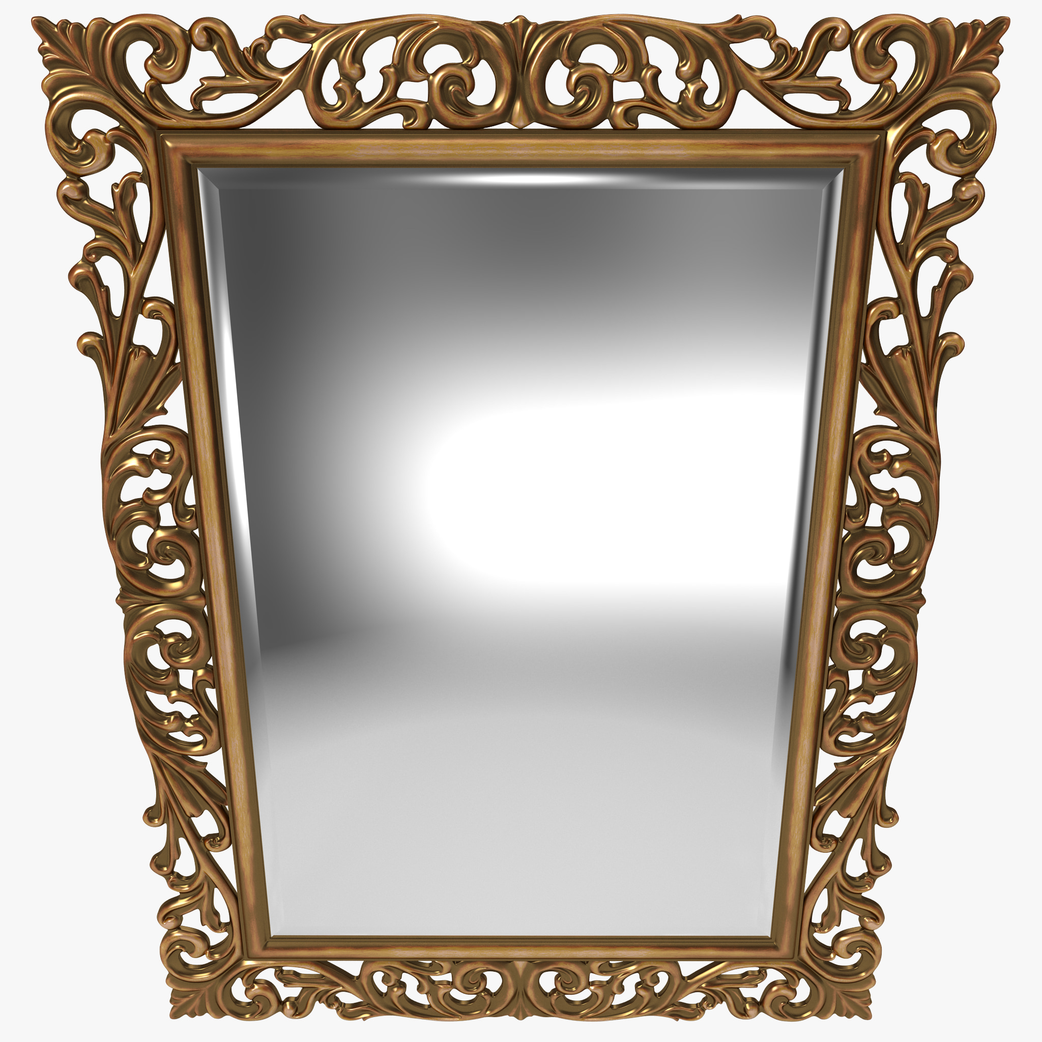 3d gold ornate square mirror for Mirror in sketchup