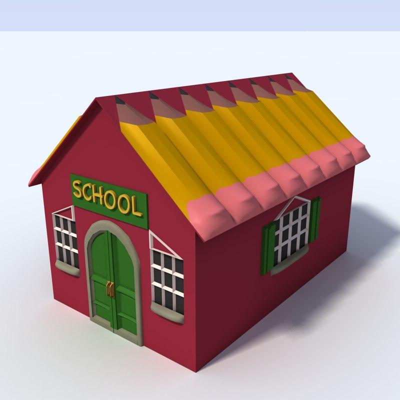 rural schoolhouse obj