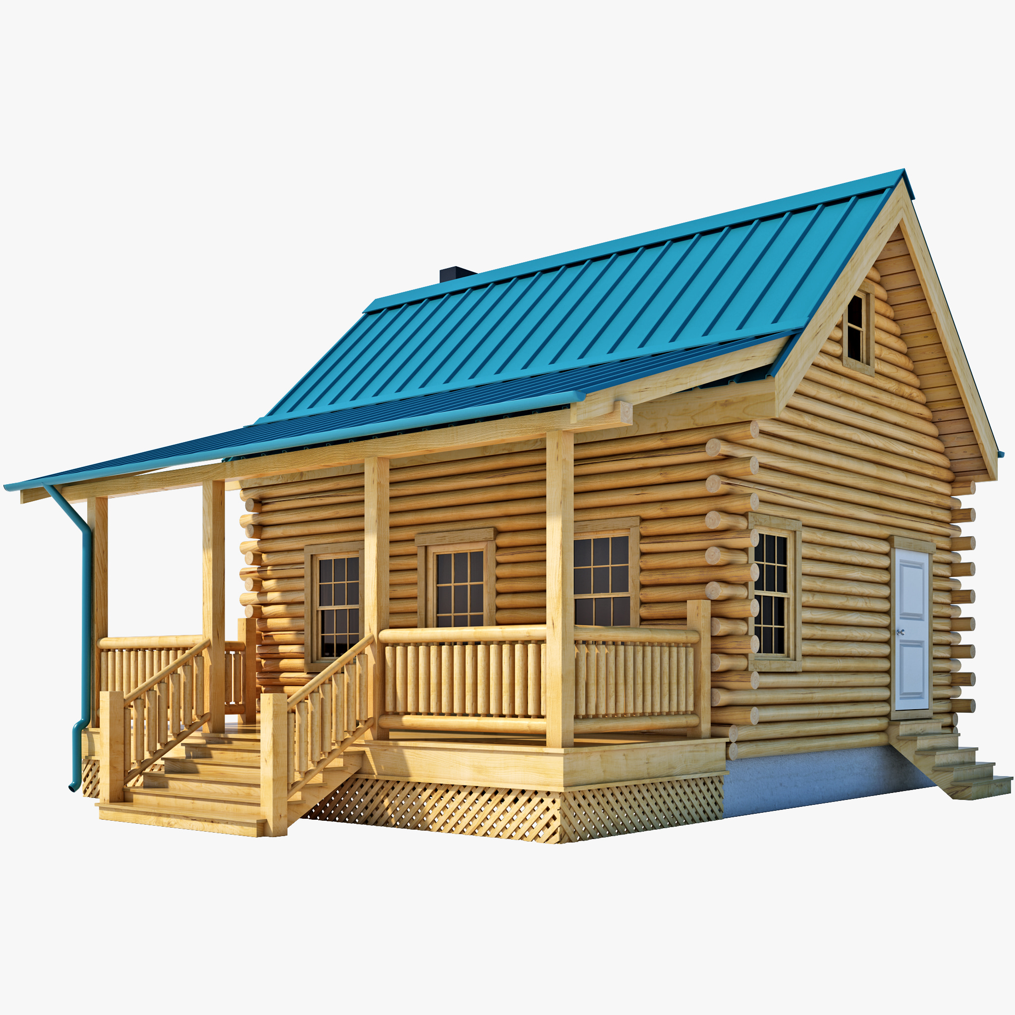 3d log cabin house House 3d model