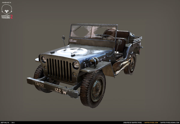 Jeep Willys Low poly + Hi poly 3D Models