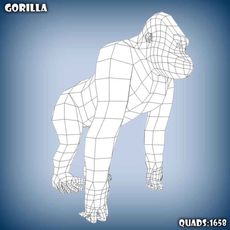 base mesh gorilla 3d c4d