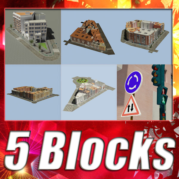 5 City Blocks Collection 3D Models