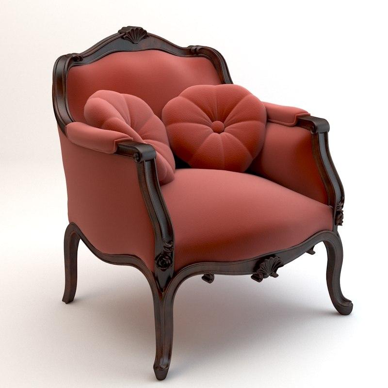 chair baroque armchair 3d model