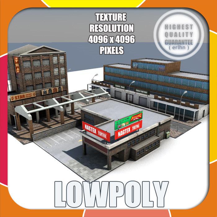 small factory scene 3d model
