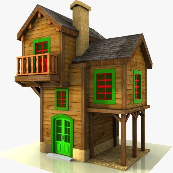 Cartoon house toon 3d model for 3d model of house