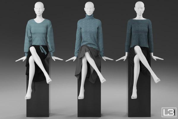 Shop window Woman Mannequin 009 3D Models