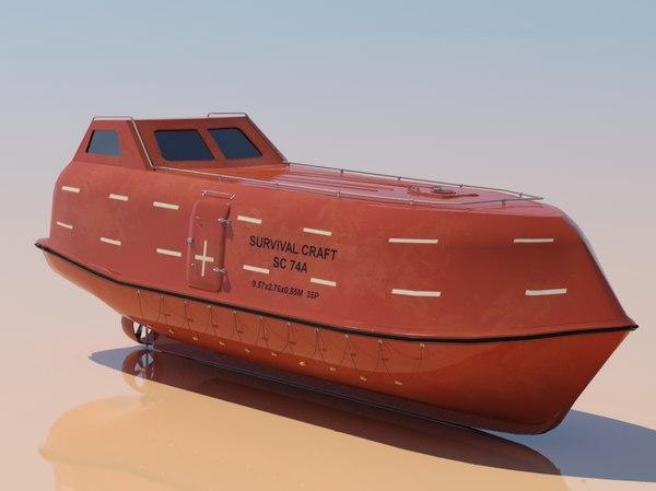Free Fall Life Boat 3D Models