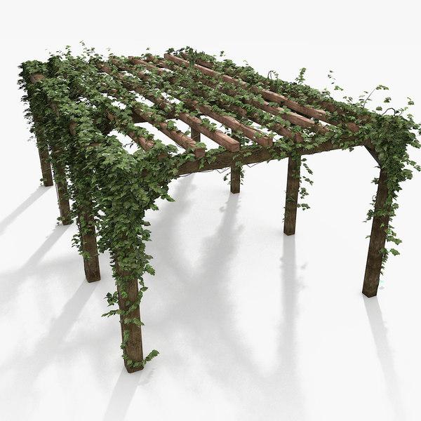 Wooden Pergola With Ivy Plant 3D Models
