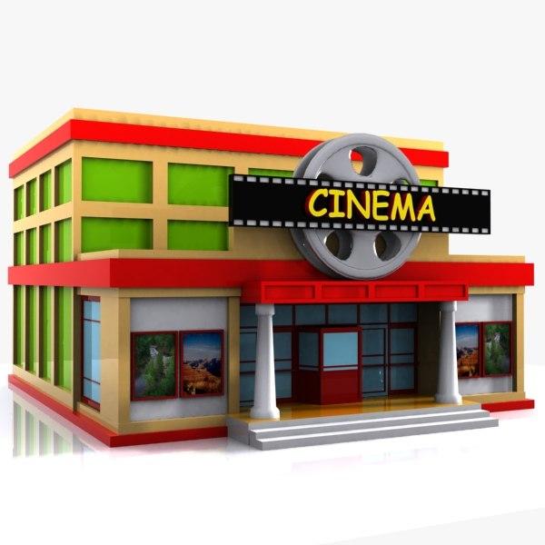 3d cartoon toon Cinema Building Cartoon