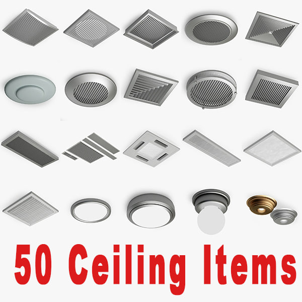 50 Ceiling items 3D Models