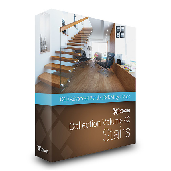 CGAxis Models Volume 42 Stairs C4D 3D Models
