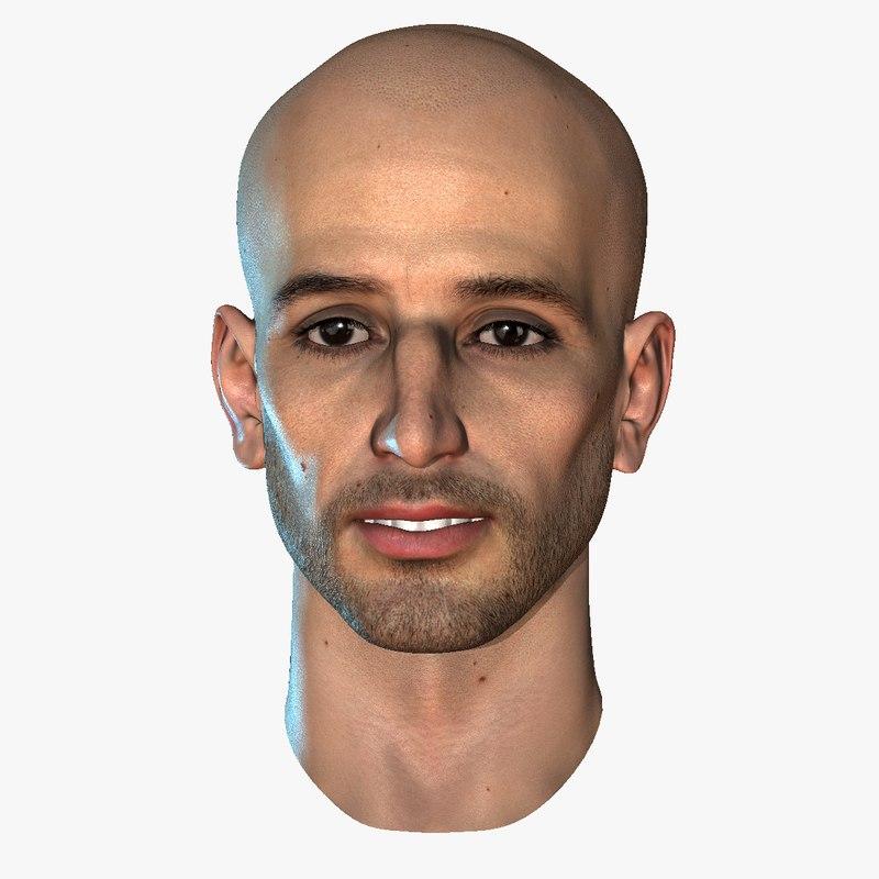 Head Male 12 skins 7 eye colors Realtime Shon