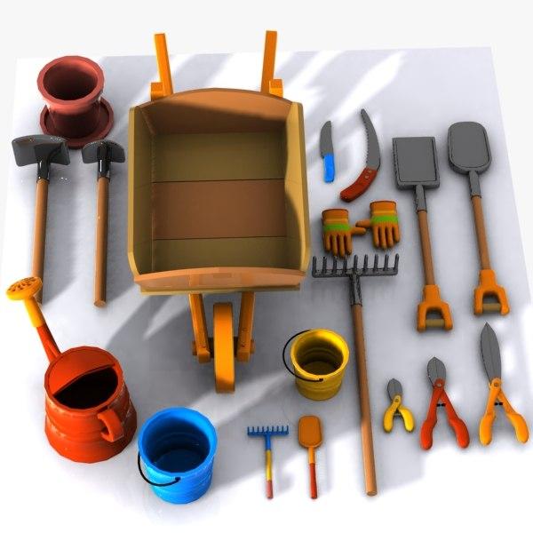 3d cartoon garden tool for Garden design 3d tools
