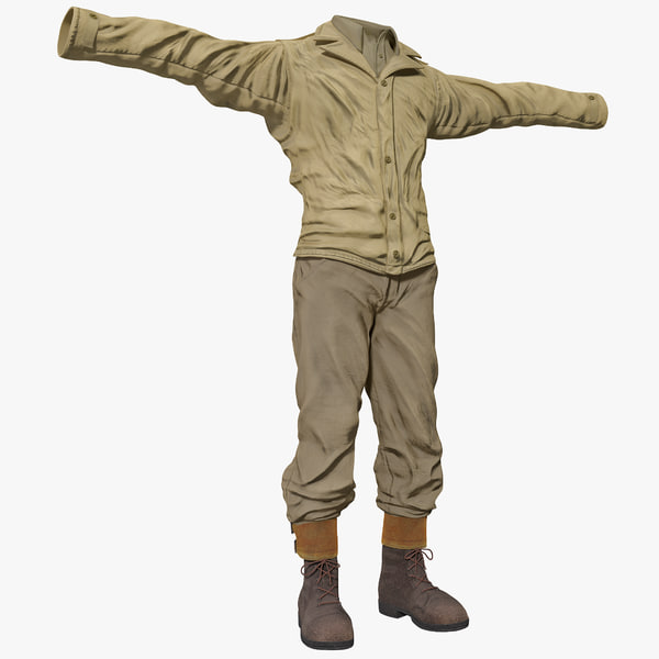 American WWII Infantry Soldier Clothes 4 3D Models
