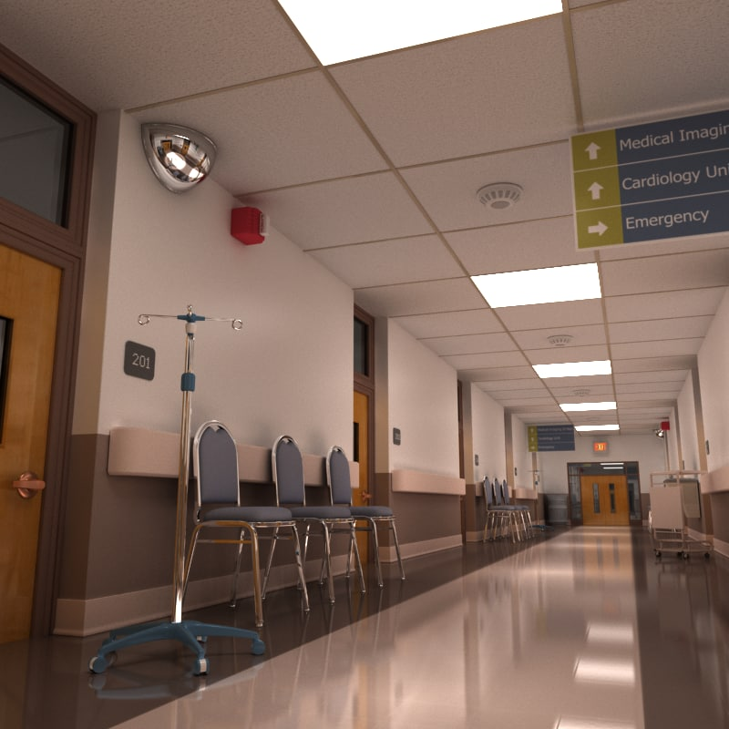Hospital Corridor Lighting Design: Hospital Hallway 3d Model