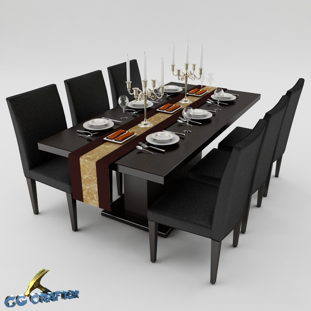 3ds max dining table set. Black Bedroom Furniture Sets. Home Design Ideas