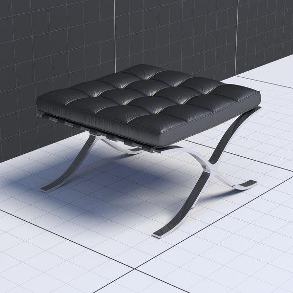Mies Van Der Rohe Ottoman 3D Models