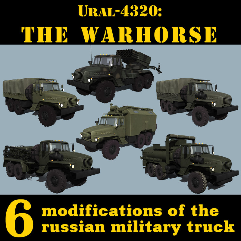 russian ural 4320 trucks 3d 3ds