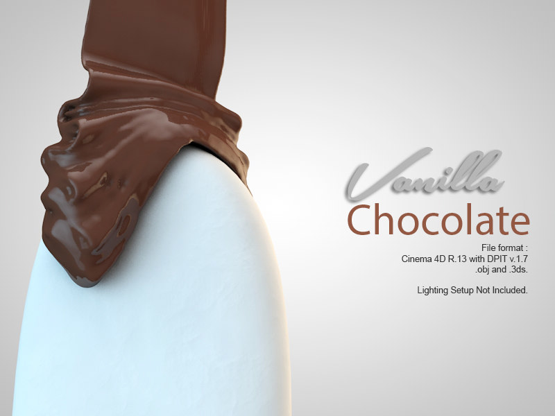 Animate liquid of vanilla chocolate ice cream simulation