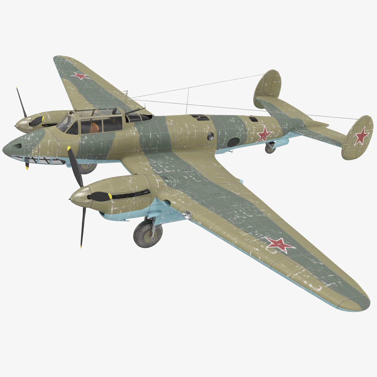 Petlyakov Pe-2I Russian World War II Bomber Rigged_3.jpg