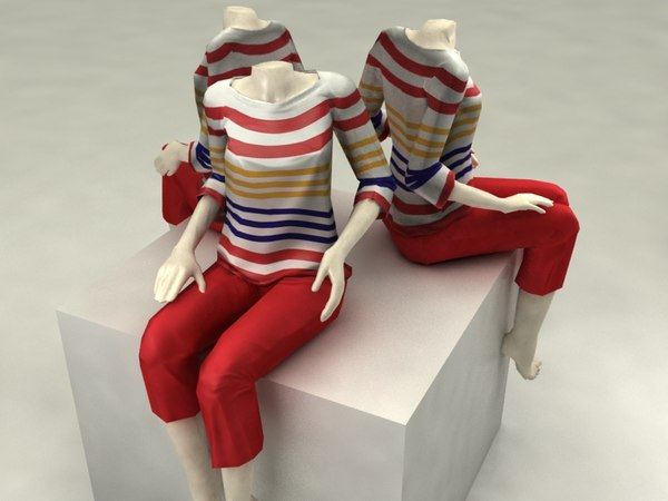 Sitting Mannequin Low Poly 3D Models