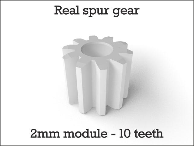 Real spur gear 2mm module - 10 teeth