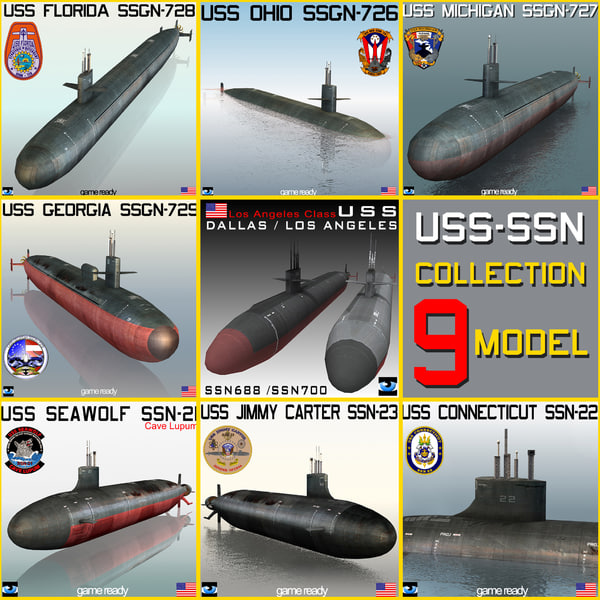 USS SSN & SSGN 9 MODEL SUBMARINE Collection 3D Models
