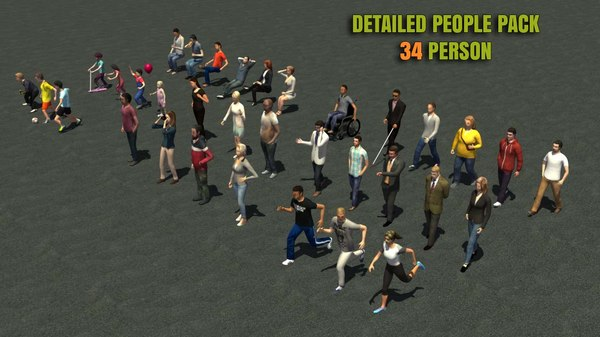 34 People Casual Urban 3d Pack 3D Models