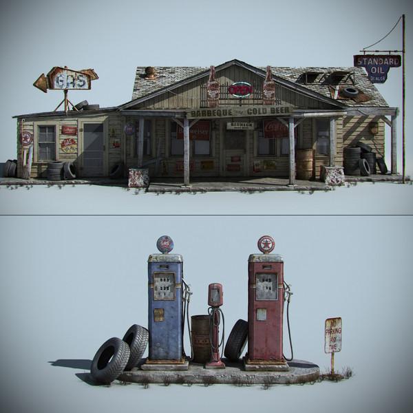 Old Gas Station 3D Models